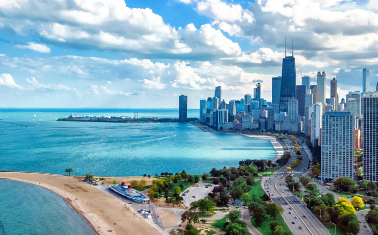 Lake Michigan bij Chicago, gratis naar het strand!