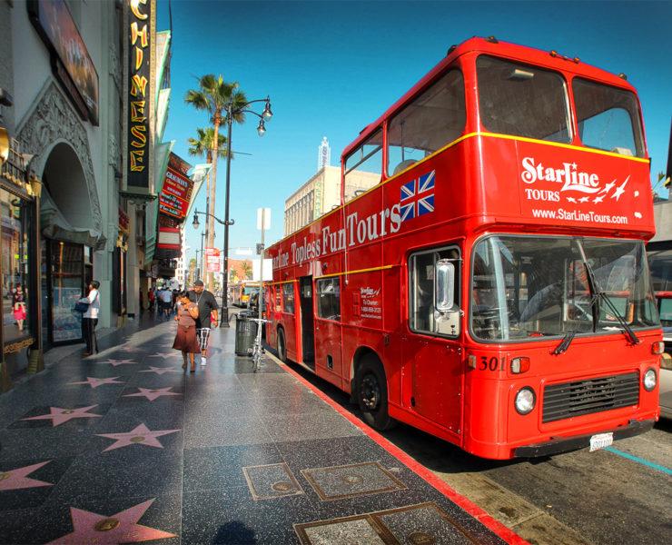 Een Starline tour bus in Los Angeles