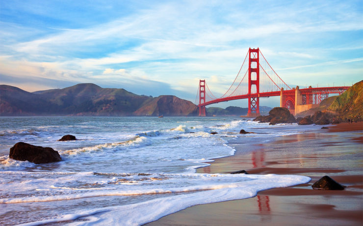 De beroemde Golden Gate Bridge in San Francisco
