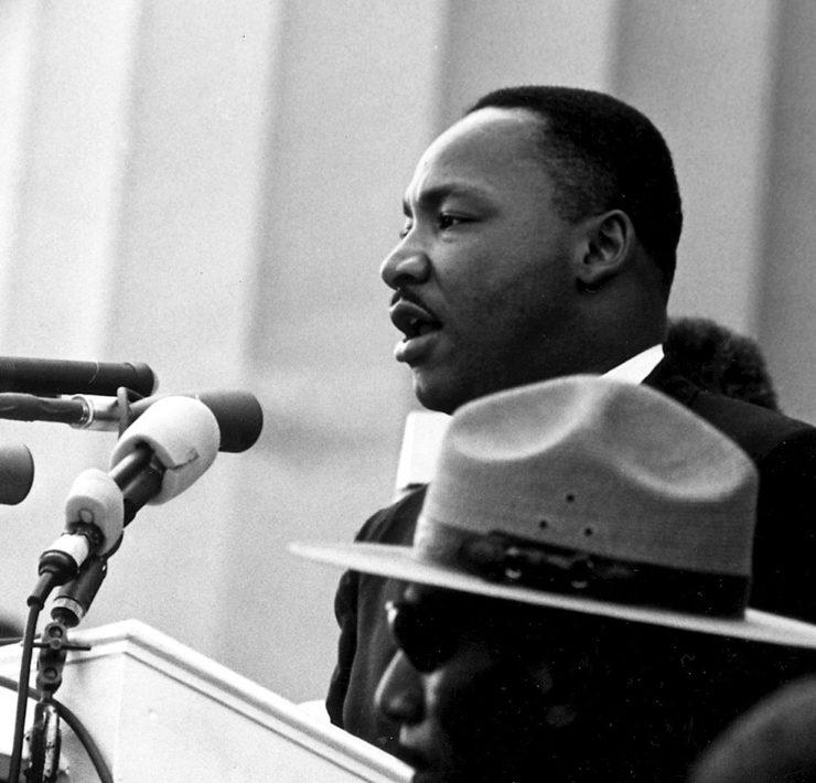 Martin Luther King tijdens zijn beroemde 'I have a Dream' speech in Washington DC