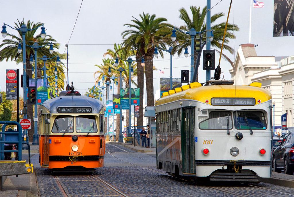 De vintage MUNI trams in San Francisco